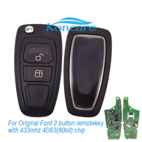 For Original Ford 2 button remote key with 433mhz, 4D63 (80bit) chip AB39-22053-BA continental:5WK50166 AB39 15K601 BA For Homologation BM5T15K601-BA CCAE11LP0010T5 1287-10-2149