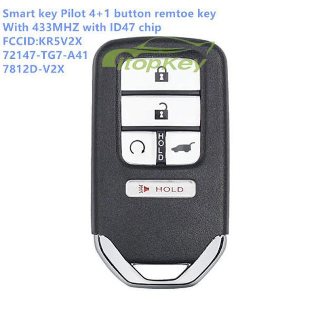 Smart Key Pilot 4+1 button Remote Key 433MHz ID47 FCC:KR5V2X 72147-TG7-A41, 7812D-V2X