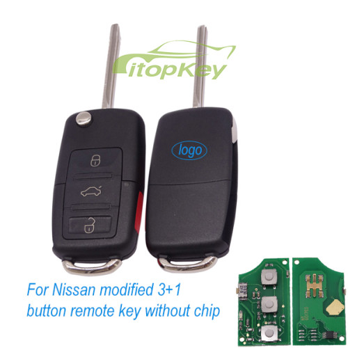 For Nissan modified 3+1 button remote key without chip (genuine NISSAN transponder key and remote are separated, for  VW style remote