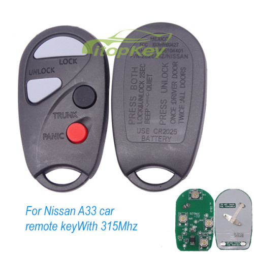 For Nissan A33 car remote key With 315Mhz (the remote is different from the Sunny car)
