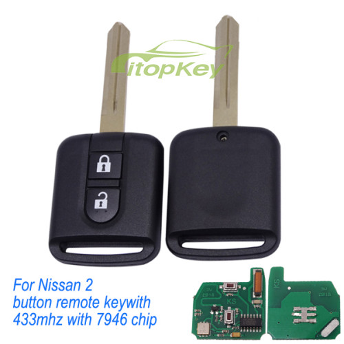 For Nissan 2 button remote key with 433mhz with 7946 chip with ASK model