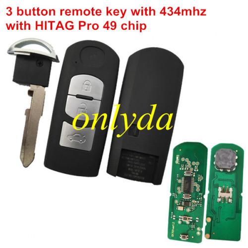 3 Button remote key with 434mhz with HITAG Pro 49 chip for CX-3 CX-4 Axela Atenza model:SKE13E-01 or SKE13E-02