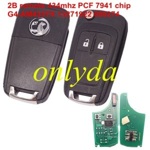 Vauxhall 2 button remote key with 434mhz  G4-AM433TX 13271922 000274 PCF 7941 chip After market