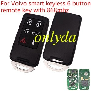 After market Volvo Smart keyless 6 button remote key with 868MHZ with PCF7945 chip, the PCB is original used on Volvo S60,XC70,S80,XC60,V60 from 2008