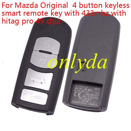 For Mazda 4 button keyless smart remote key with 433mhz with 7953PC chip. chip is locked, and is brand new.