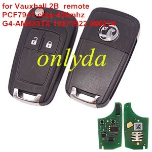 For Vauxhall 2 button original remote key with 434mhz G4-AM433TX 13271922 000274 PCF 7941 chip without blade