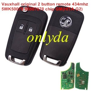 For Vauxhall 2 button original remote key with 434mhz 5WK50079 95507070 chip GM(HITA G2) without blade