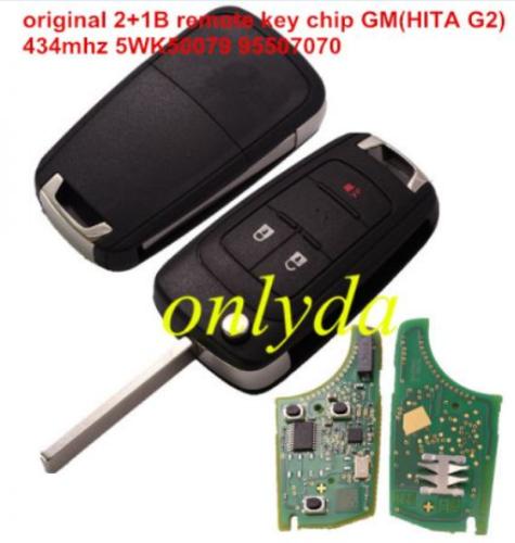 original 2+1B remote key with 434mhz 5WK50079 95507070 chip GM(HITA G2) 7937E chip
