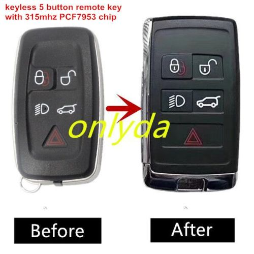 Keyless 5 button remote key with 315mhz PCF 7953 chip