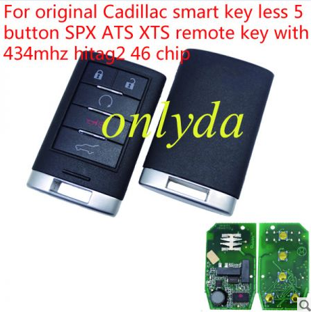 For Cadillac 5 button smart keyless remote key with 315mhz with hitag2 46 chip