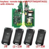 keyless Porshe Cayenne remote key with PCF7942(HITAG2) with 434mhz &LED light with 2 ,2+1,3,3+1button key shell , please choose