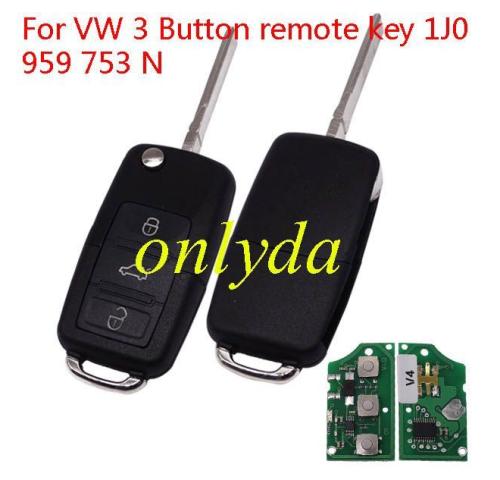 For VW 3 Button remote key 1J0 959 753 N