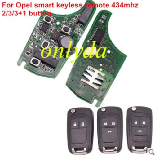 For opel smart keyless remote 434MHZ -7952 chip ,2;3;3+1button, please choose the key shell