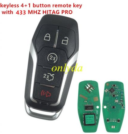4+1button aftermarket remote key with 434mhzHITAG PRO keyless