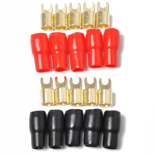 10 Pack Car Audio Power Ground Wire Fork Terminals Sale  Brass 4 Gauge 5/16  Connectors Red and Black Boots