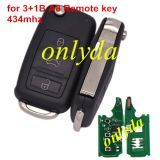 For Audi 3+1 button A8 Remote key with 434mhz/315mhz