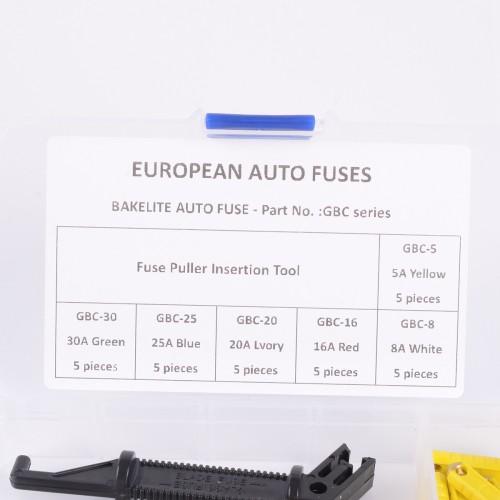 30Pack GBC Automotive European Car Blade Fuse Box Assortment Bakelite Auto Fuses 5-30Amp