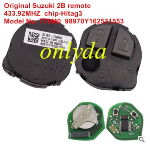 For Original Suzuki 2 B remote 433.92MHZ chip-Hitag3 chip 37182-79M00 Model No. T79M0