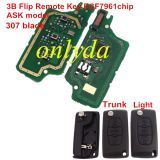 For Peugeot 3B Flip Remote Key PCF7961 46 chip ASK model , Battery not on the PCB