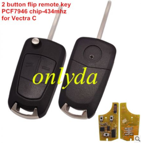 2 button remote 434mhz PCF7946 chip HU100 blade for Vectra C