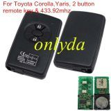 For original Toyota Corolla,Yaris, 2 button remote key with 433.92mhz