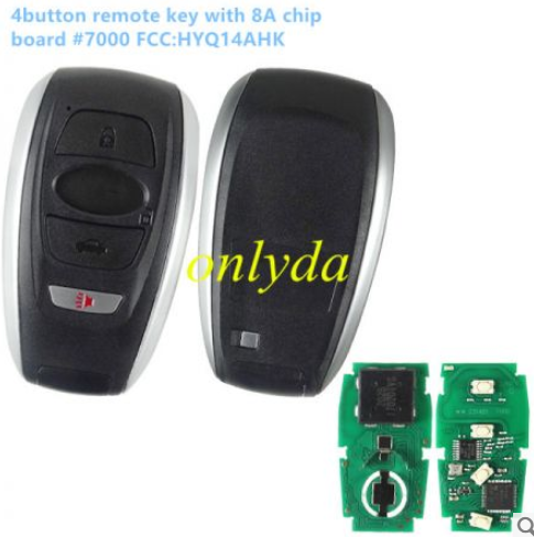 Subaru 4 button remote key with 434mhz with 8A chip  board #7000  FCC:HYQ14AHK
