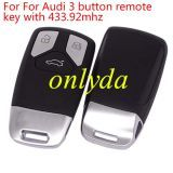 Original For Audi keyless 3 button remote 433.92mhz