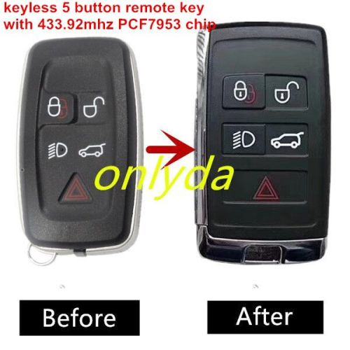 Keyless 5 button remote key with 433.92mhz PCF 7953 chip