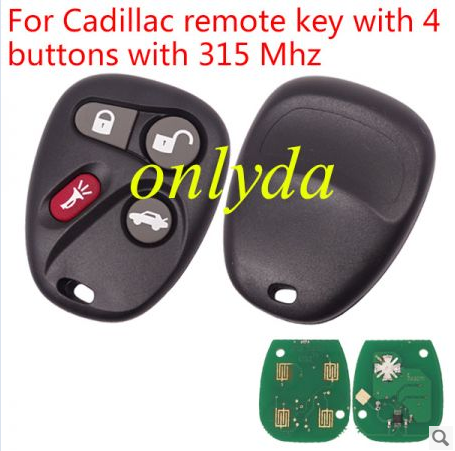 For Cadillac remote key with 4 buttons with 315/433 Mhz
