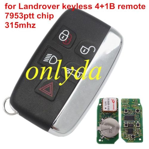 For Landrover keyless smart remote key 4+1B with 7953ptt chip 315MHZ/434MHZ