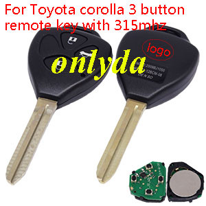 Toyota corolla 3 button remote key with 434 mhz