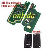 For Peugeot 3B Flip Remote Key PCF7961 46 chip FSK model , Battery not on the PCB