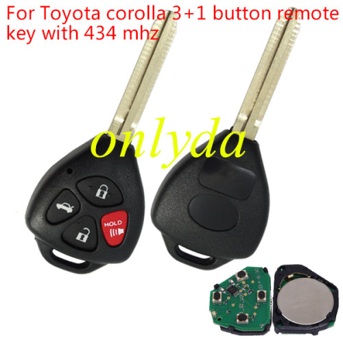 Toyota corolla 3+1 button remote key with 434 mhz with 4D67 chip