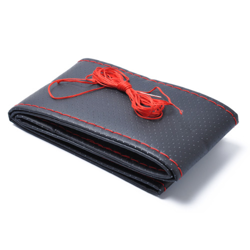 New 38cm Car Truck Microfiber Leather Steering Wheel Cover With Needles and Thread Red DIY Wholesale Price