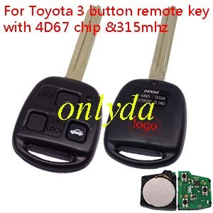 Toyota 3 button remote key with 4D67 chip & TOY43 blade with 315mhz use for Toyota land cruiser prado