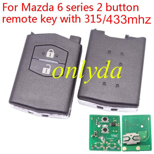 For Mazda 6 series 2 button remote key with 315/433mhz