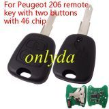 For Peugeot 2B remote key 46 PCF7961chip-434mhz 206 blade