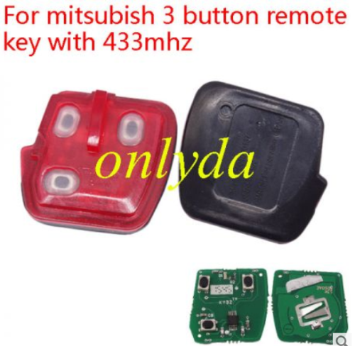 For mitsubish 3 button remote key with 315mhz/433mhz