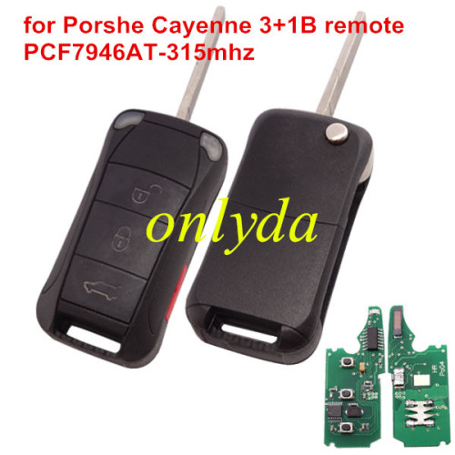 Porshe Cayenne 3+1 button remote key with PCF7946AT(HITAG2)  with 315mhz &LED light