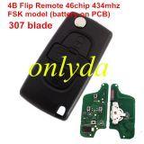 4B Flip Remote Key 433mhz (battery on PCB) FSK model with 46 chip