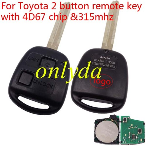 Toyota 2 button remote key with 4D67 chip & TOY43 blade with 315mhz use for Toyota land cruiser prado
