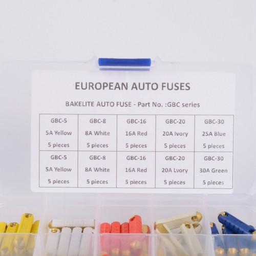 50pc GBC EUROPEAN CAR BLADE FUSE BOX ASSORTMENT BAKELITE AUTO FUSES 5-30Amp