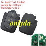 For Audi TT A3 3 button remote key 434mhz PN:4DO 837 231 D
