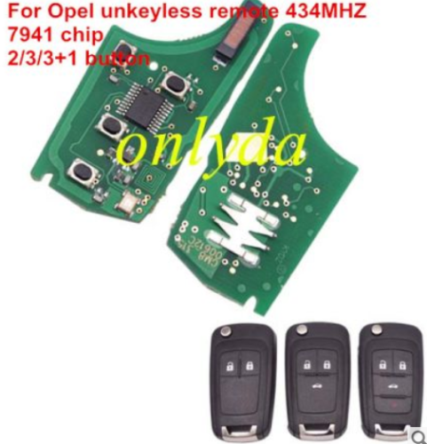 For Opel unkeyless remote 434MHZ -7941 chip, 2;3;3+1button key please choose the key shell