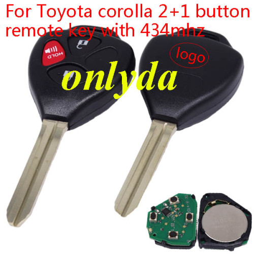 Toyota corolla 2+1 button remote key with 434mhz with 4D67 chip