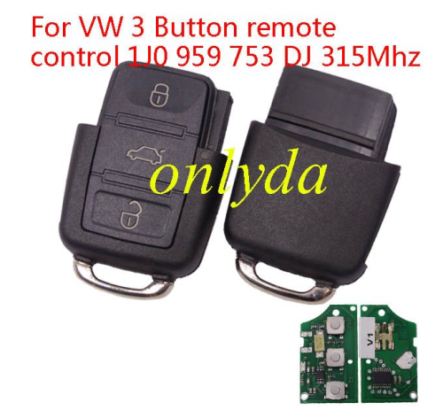 For VW 3 Button remote control 1J0 959 753 DJ 315Mhz