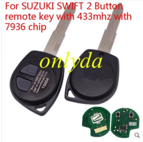 For SUZUKI SWIFT 2 Button remote key with 7936 chip 315/434mhz