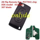 For Peugeot 2B Flip Remote Key 433mhz (battery on PCB) with ASK model PCF7941 46 chip 307/407 blade