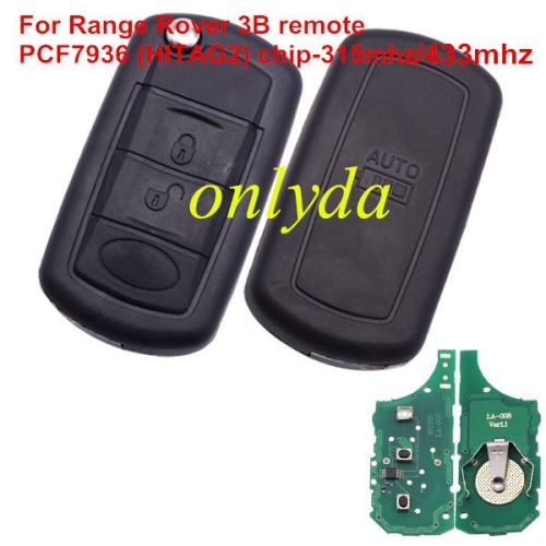For LandRover Range Rover 3 button remote key with 315mhz/433mhz PCF7936 (HITAG2) chip
