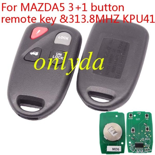 For Mazda 5 3+1 button remote key with 313.8MHZ KPU41805